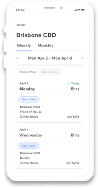 Scheduling app screenshot