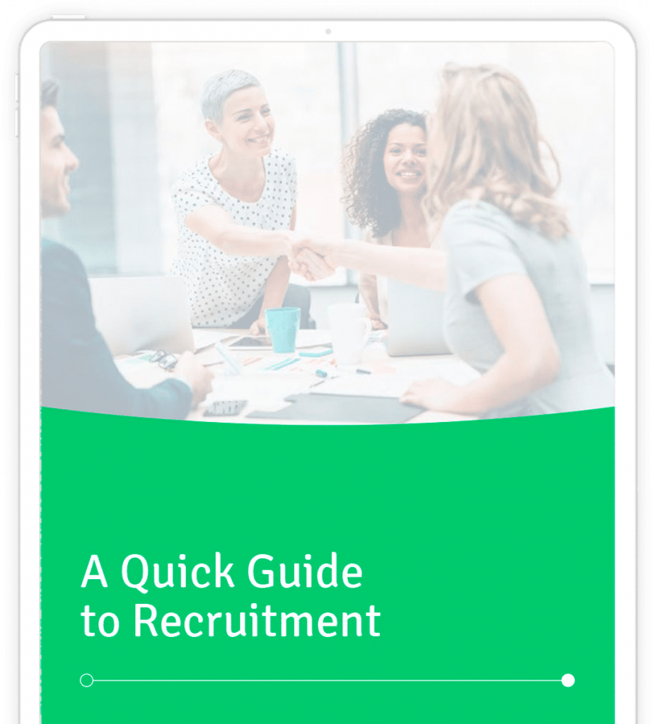 A Quick Guide to Recruitment document on tablet
