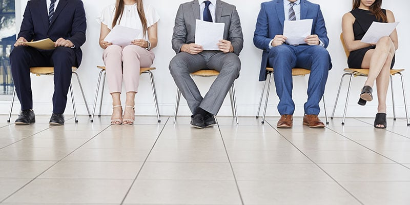 Five candidates waiting for job interviews