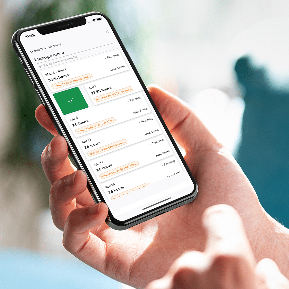 Manage leave on employee mobile app
