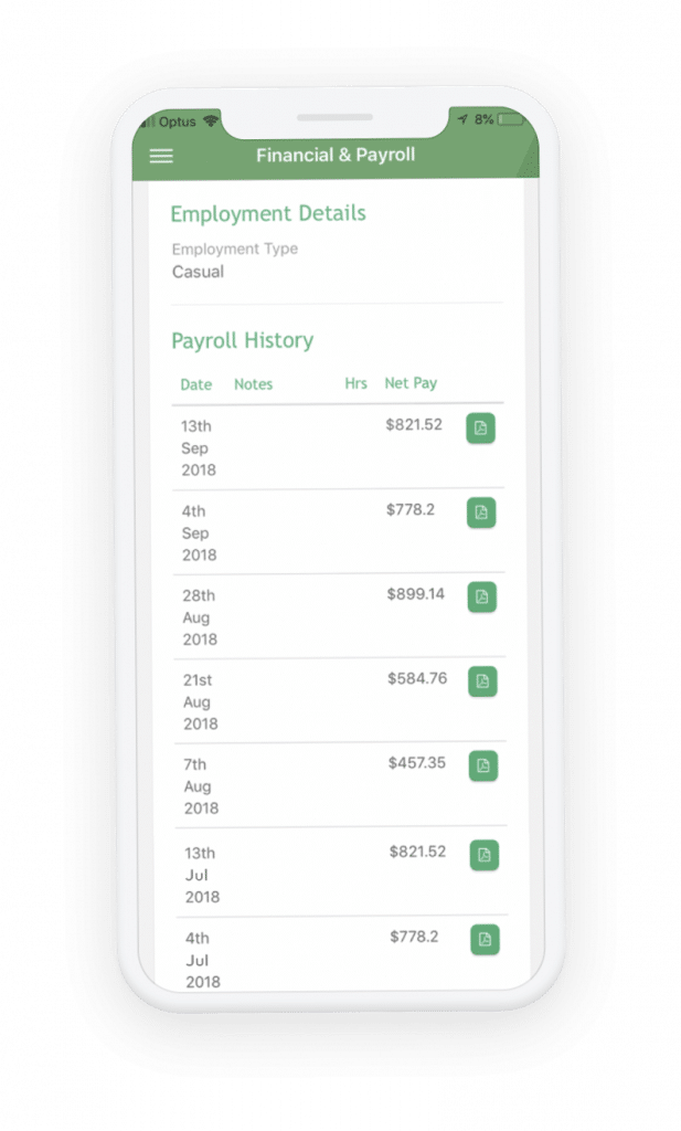 Payroll history on mobile phone