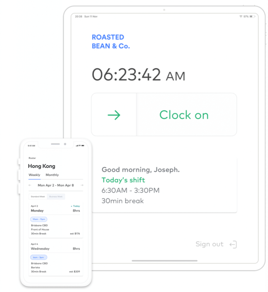 Clock on with mobile and tablet
