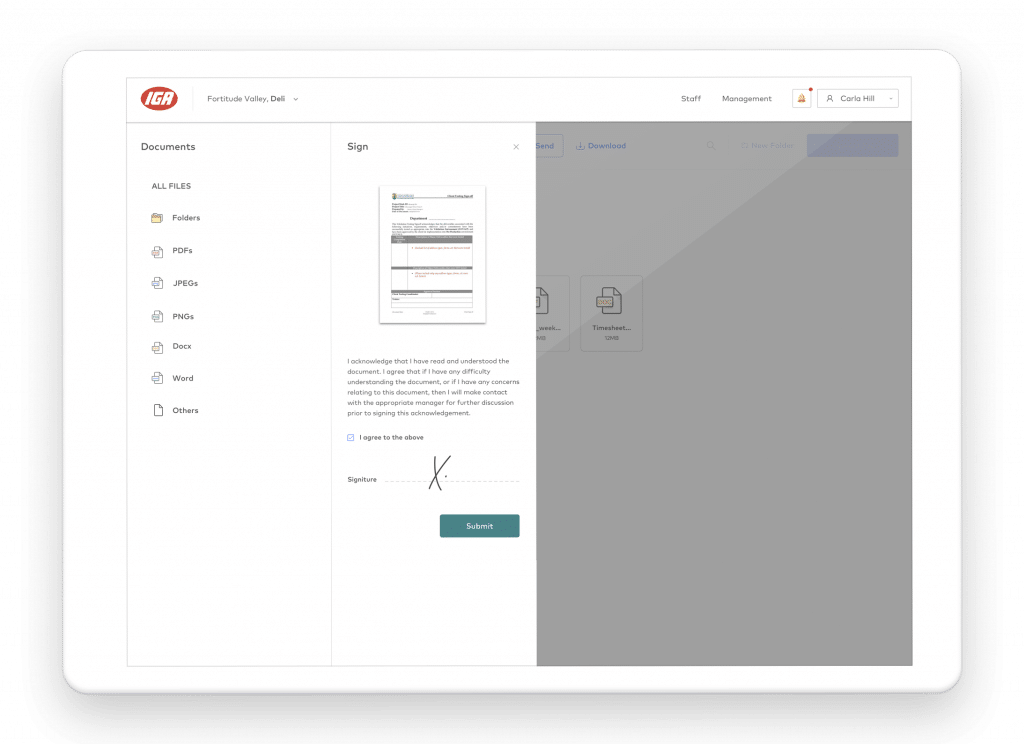 Sign documents on tablet