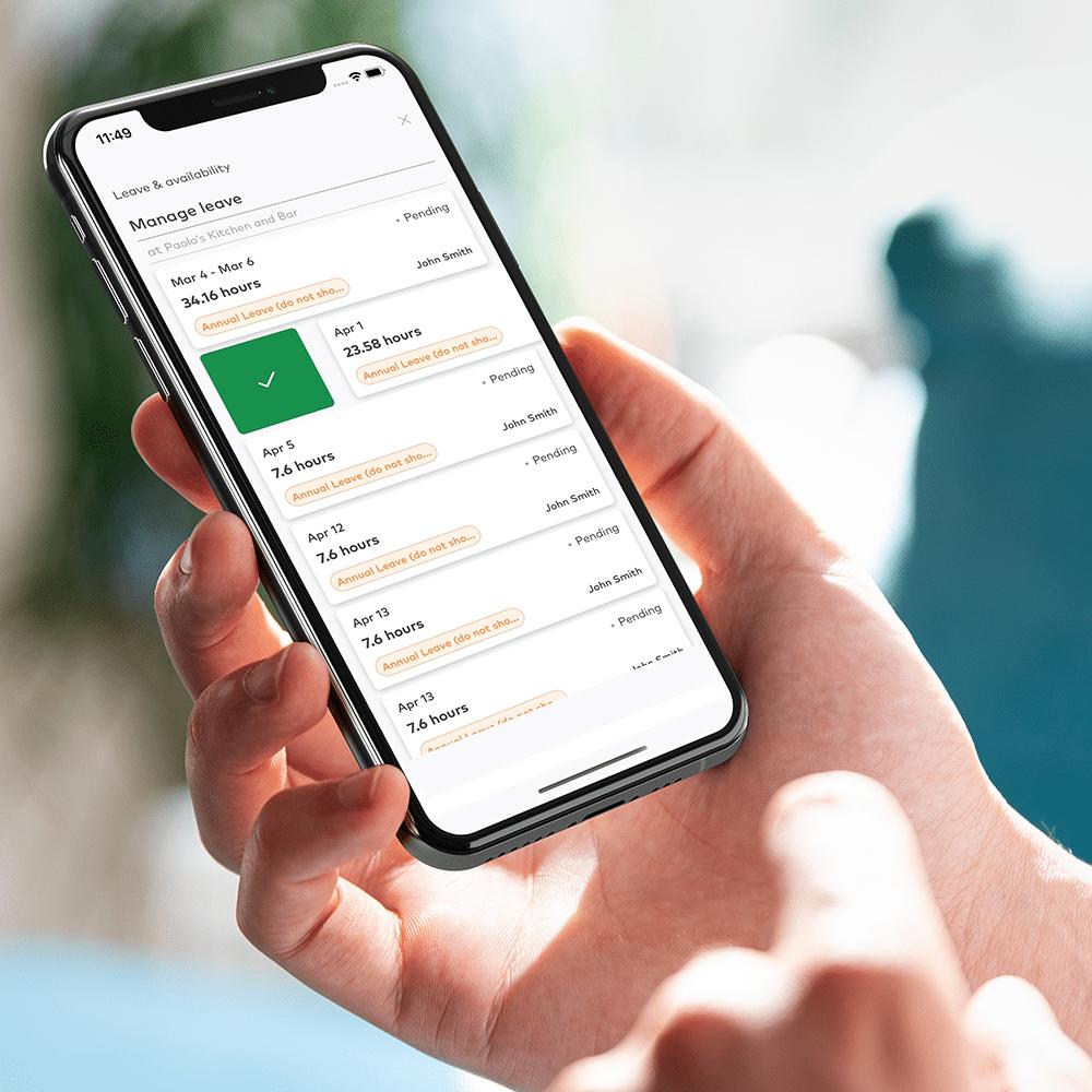Leave management on mobile app