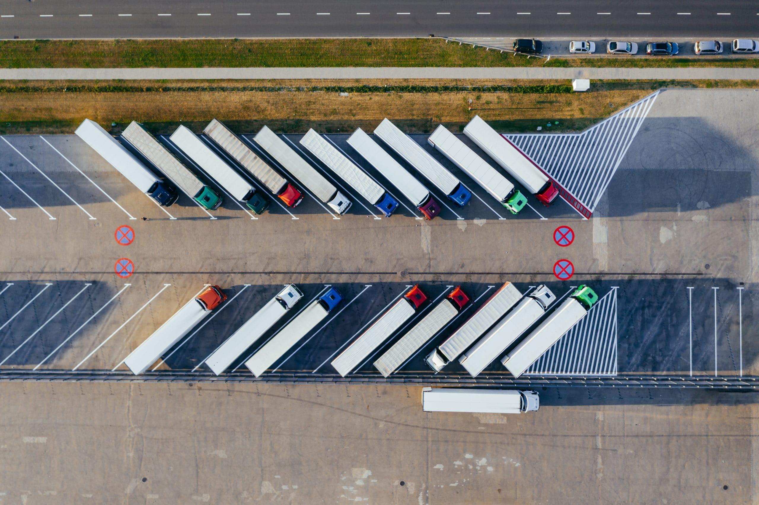 Trucks at parking bay