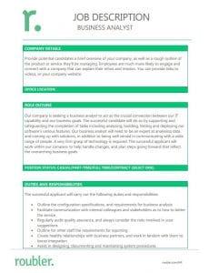 Business Analyst Job Description