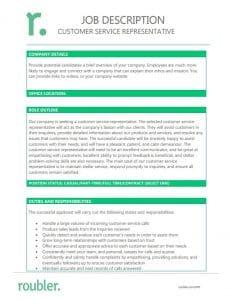 Customer Service Representative Job Description