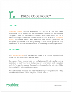 Download Roublers Dress Code Policy Template Below