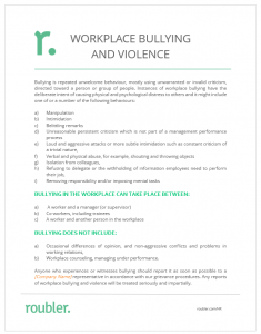 Workplace bullying and violence roubler resources roubler for Workplace violence and harassment risk assessment template