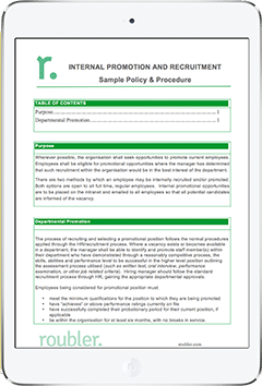 Internal Promotion and Recruitment Template Policy