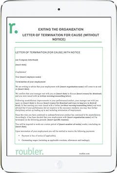Template Letter of Termination for Cause Without Notice