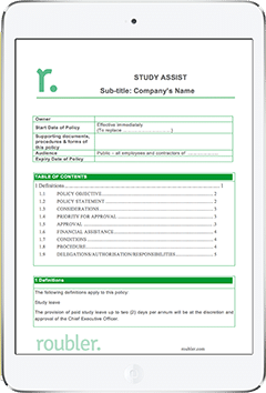Workplace Study Assist Policy Template