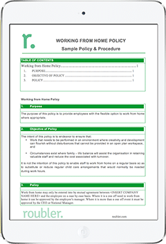 working from home policy Template