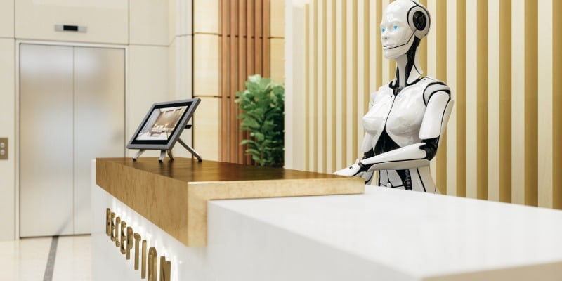 Android waiting to check in guests