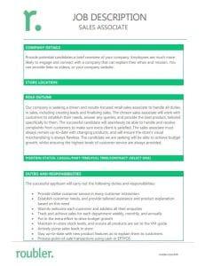 Sales Associate Job Description