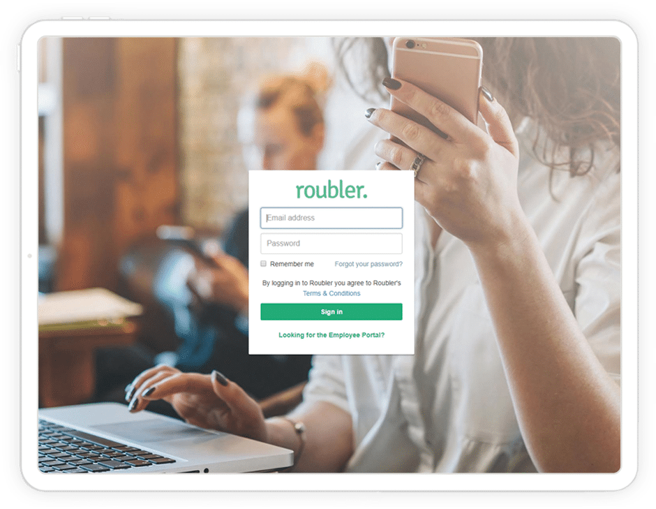 Roubler login screen tablet